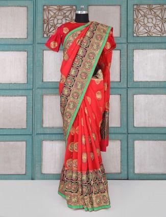 Silk fabric red saree for wedding wear