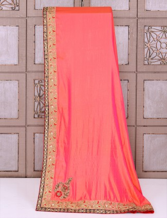 Silk fabric saree in bright peach color