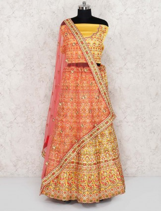 Silk fabric yellow semi stitched lehenga choli
