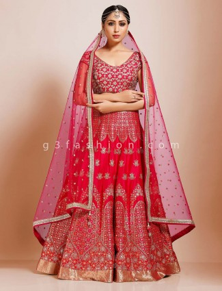 Silk magenta bridal wear premium lehenga choli