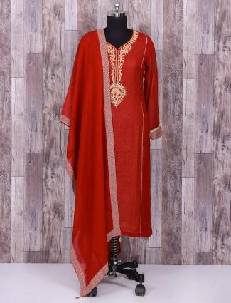 Silk marooon salwar suit