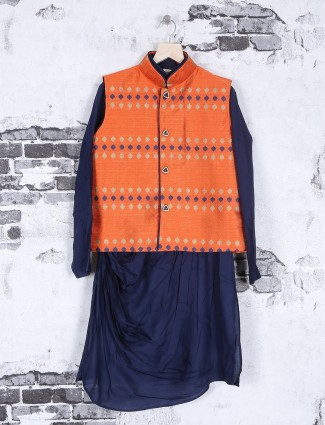 Silk navy orange festive wear waistcoat set
