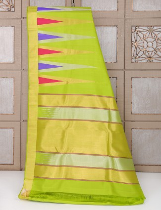 Silk parrot green color saree