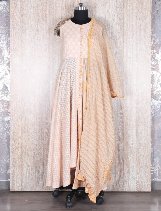 Silk peach anarkali suit
