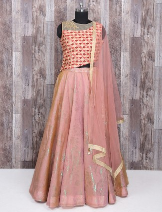 Silk peach attractive lehenga choli