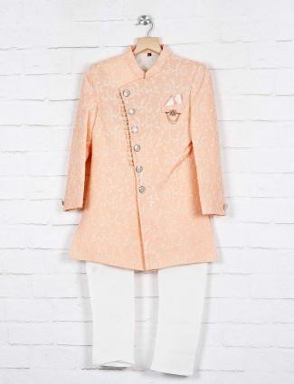 Silk peach designer indo western for wedding