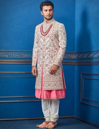 Silk pink groom wear sherwani