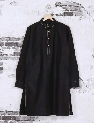 Silk plain black kurta suit