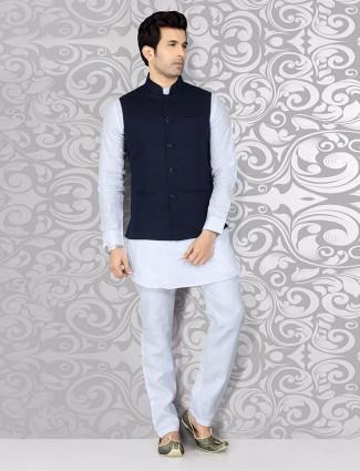 Silk plain navy festive wear waistcoat set