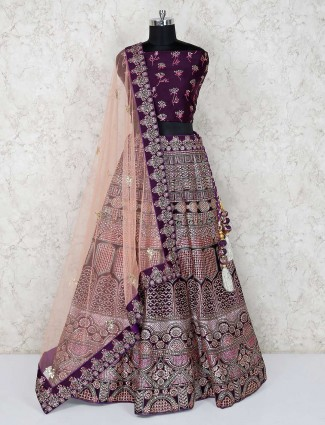 Silk purple bridal wear semi stitched lehenga choli