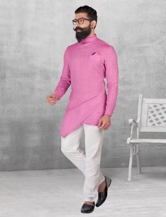 Silk purple plain kurta suit  for festive function