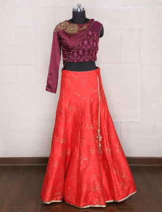silk red party wear designer lehenga choli
