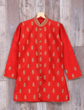 Silk red wedding wear dressy kurta suit
