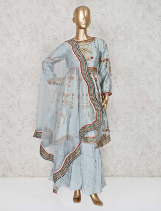 Silk sky blue designer punjabi sharara suit