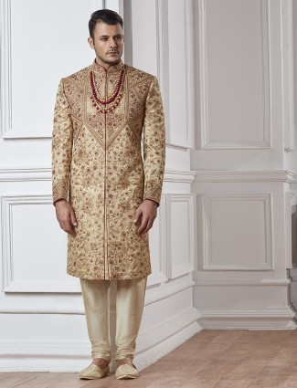 Silk wedding beige sherwani
