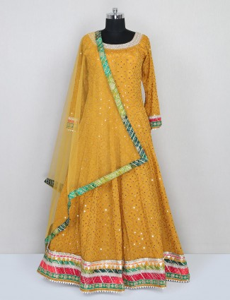 Silk wedding special gown in mustard yellow