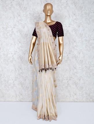 Silk wedding wear cream saree