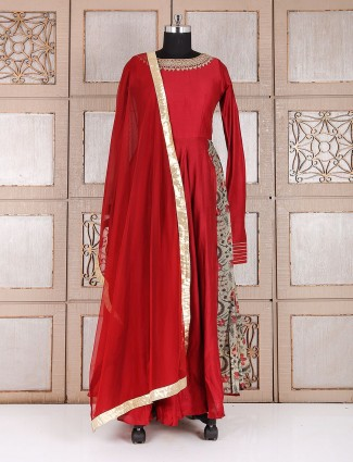 Silk wedding wear maroon color