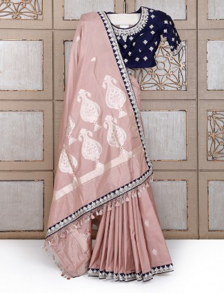 Silk wedding wear rose pink saree