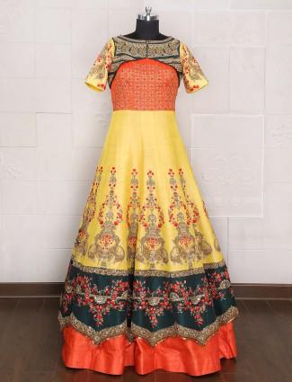 Silk yellow bridal wear gown