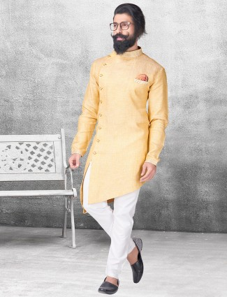Silk yellow color kurta suit
