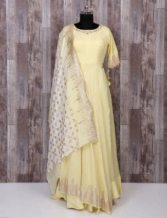 Silk yellow indo western style suit