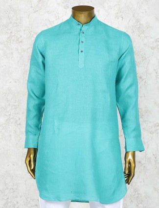Simple aqua color festive function short pathani