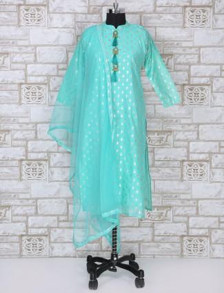 Simple aqua color silk salwar suit