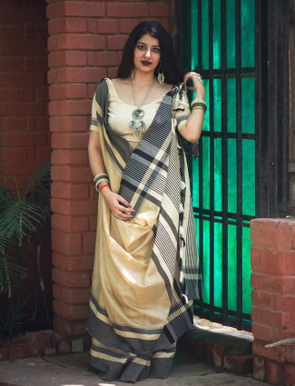 Simple beige cotton fabric saree