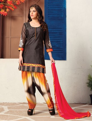 Simple black cotton silk salwar suit
