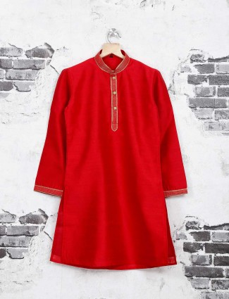 Simple bright red kurta suit