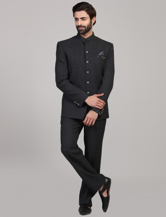 Simple dark grey party wear jodhpuri suit