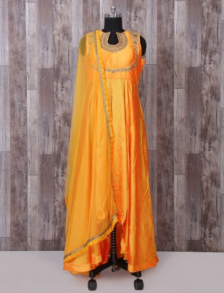 Simple gold silk anarkali suit