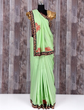 Simple green wonderful silk saree