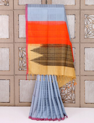 Simple grey color silk saree