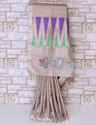 Simple light grey color silk fabric saree