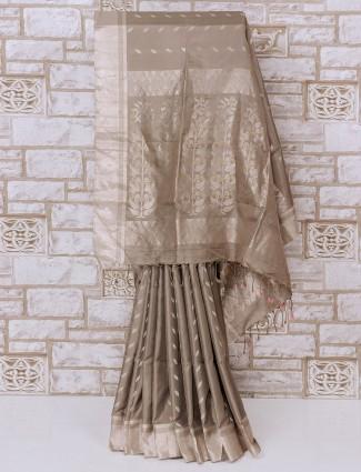 Simple light grey color silk saree
