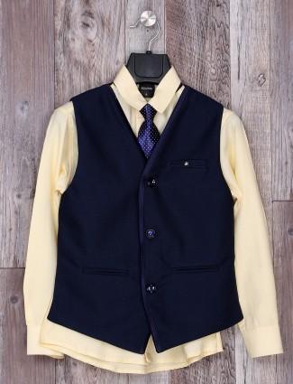 Simple navy and yellow festive wear waistcoat