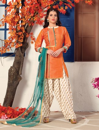 Simple orange color salwar suit