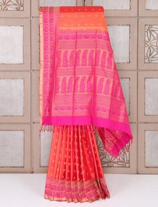 Simple Orange color silk fabric saree