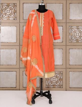Simple orange silk salwar suit