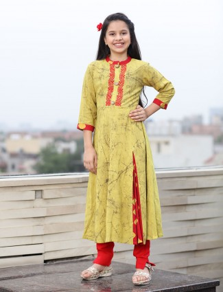 Simple printed mustard cotton pant suit