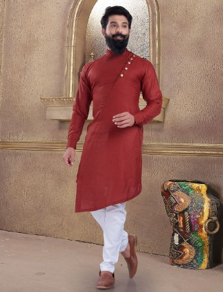 Simple red color kurta suit in cotton silk
