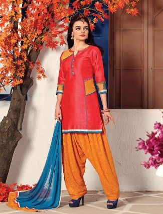 Simple red color salwar suit