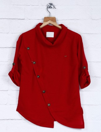 Simple red cotton fabric kurta