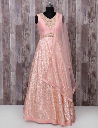 Simple silk fabric pink anarkali suit