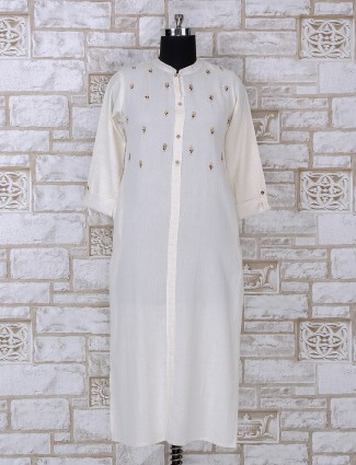 Simple white cotton kurti