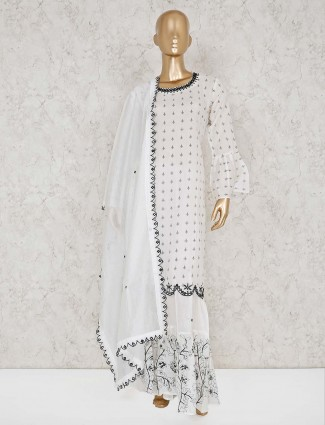Simple white cotton punjabi sharara suit
