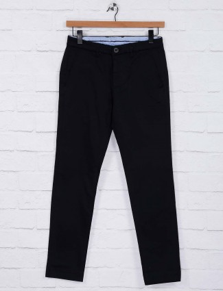 Six Element black solid cotton trouser