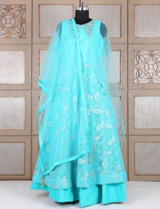 Sky blue net fabric anarkali suit